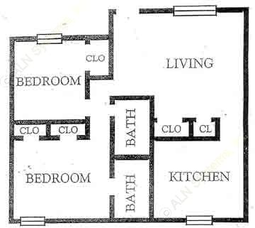 898 sq. ft. B3 floor plan