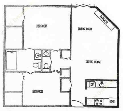920 sq. ft. 2/1.5 floor plan
