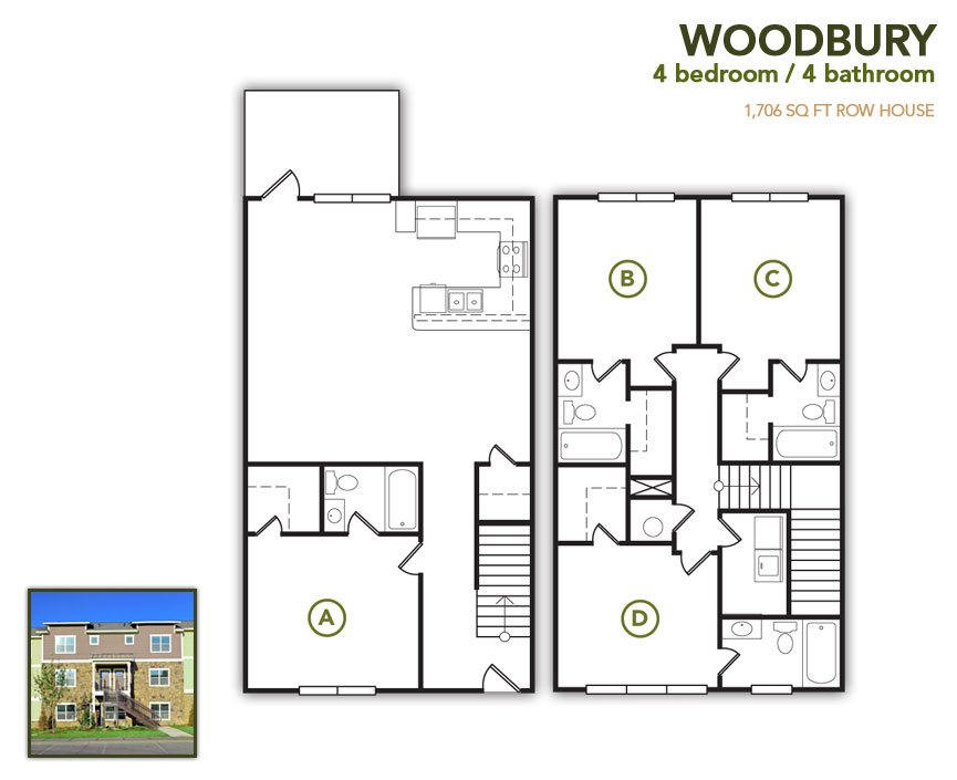 1,706 sq. ft. Woodbury Flat floor plan