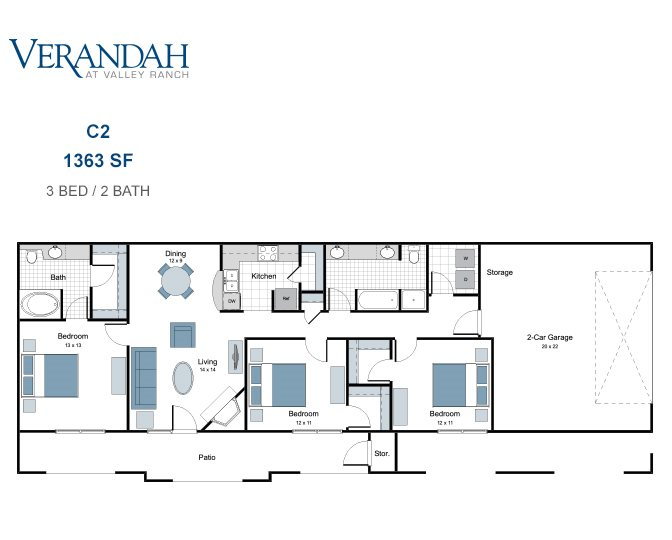 1,363 sq. ft. C2 floor plan
