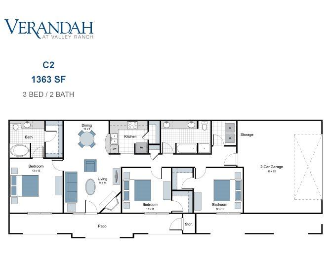 1,363 sq. ft. C2 floor plan