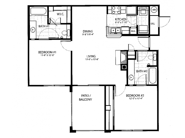 984 sq. ft. B1 floor plan