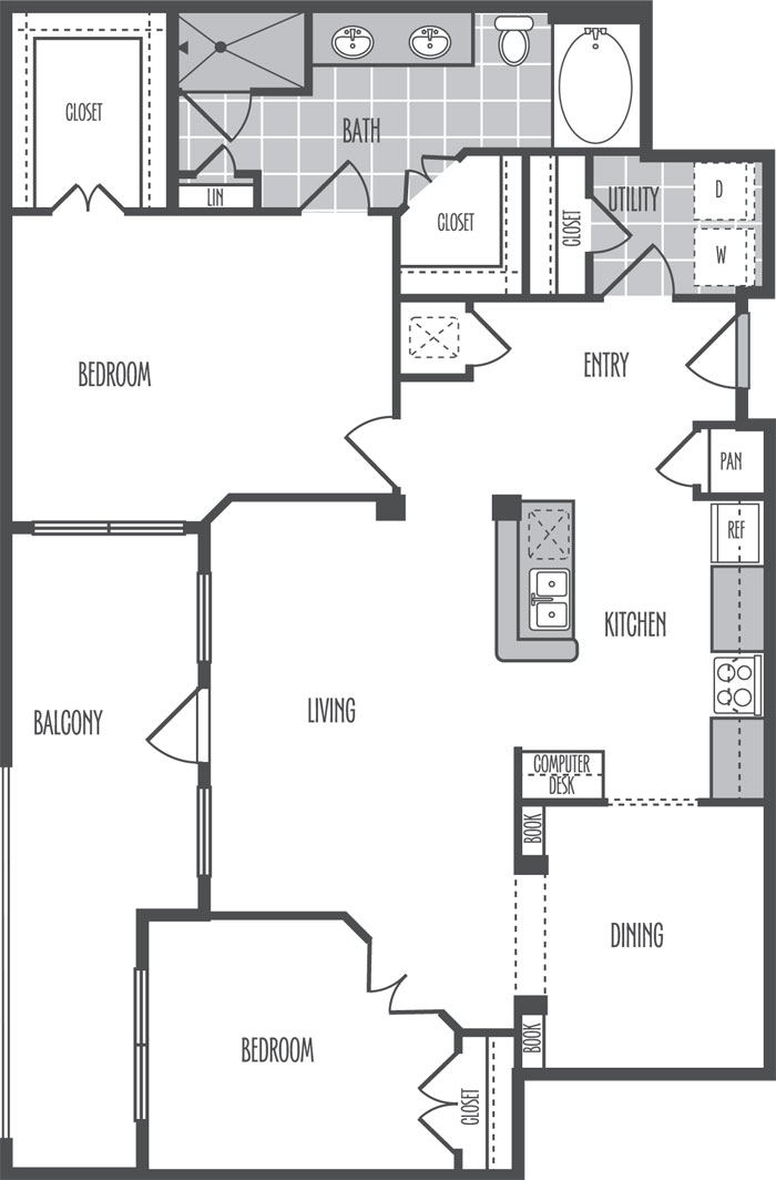 1,203 sq. ft. H floor plan