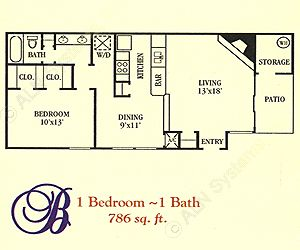 786 sq. ft. B floor plan