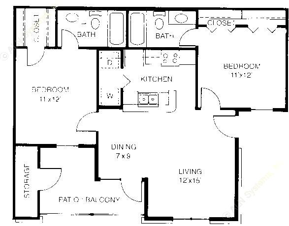 852 sq. ft. B1 floor plan