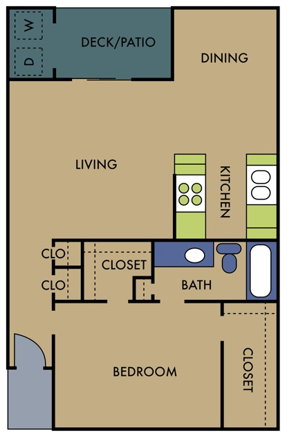 808 sq. ft. B floor plan
