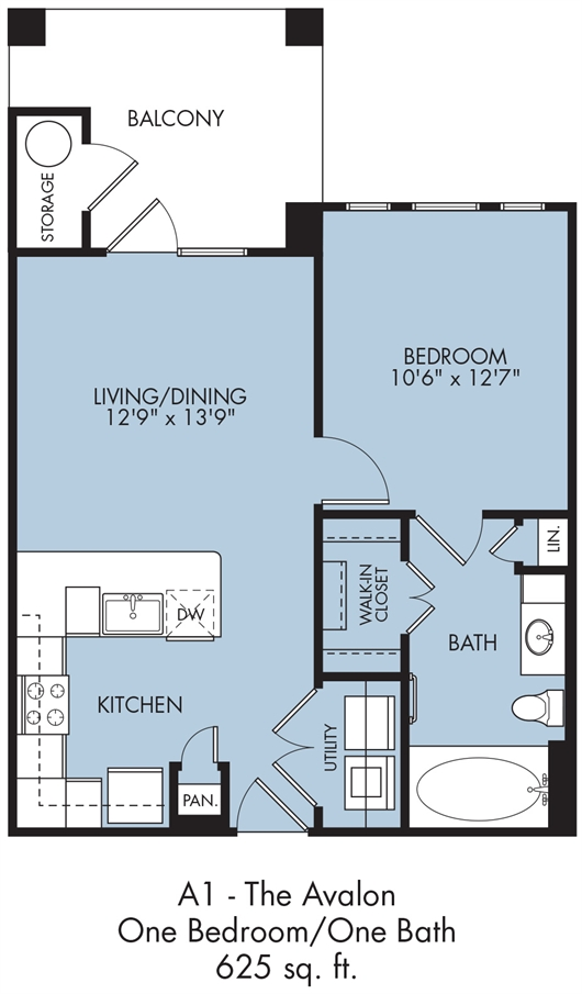 625 sq. ft. Avalon floor plan