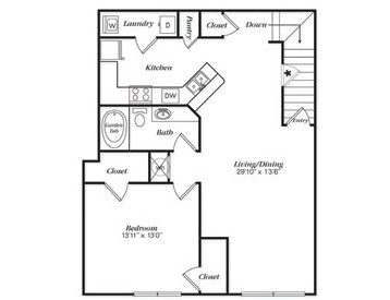 987 sq. ft. A2U/A2UG floor plan