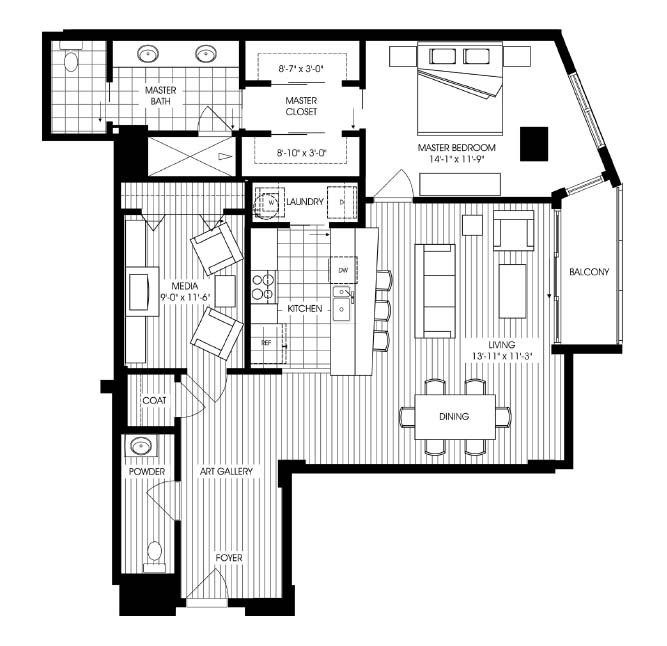 1,267 sq. ft. A19 floor plan