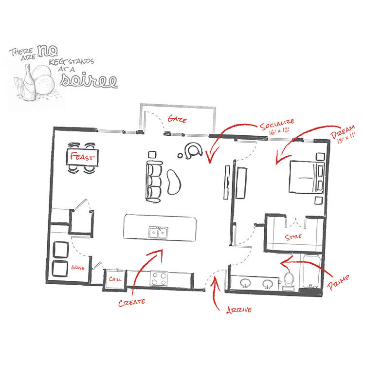 934 sq. ft. L1 floor plan