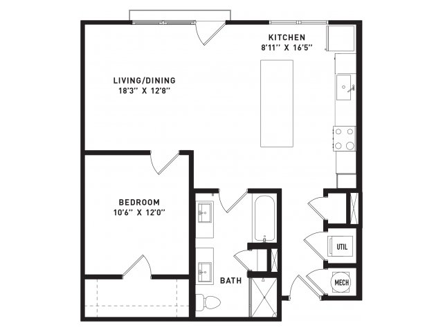 828 sq. ft. A14 floor plan