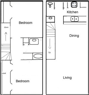 1,002 sq. ft. C1 floor plan