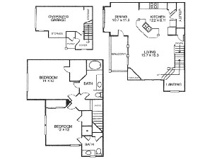 1,267 sq. ft. B4 floor plan