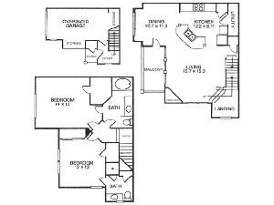 1,267 sq. ft. B4 floor plan