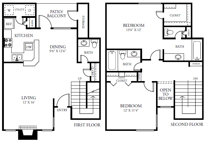 1,182 sq. ft. B4S floor plan