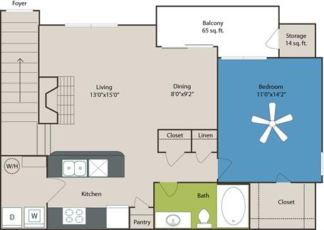 856 sq. ft. A5 floor plan
