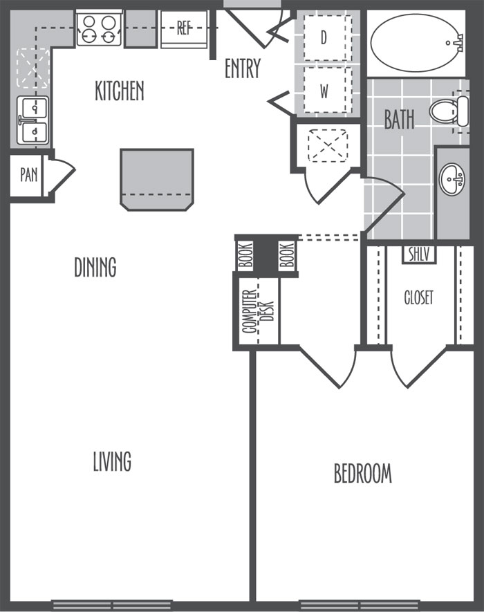 752 sq. ft. B1 floor plan