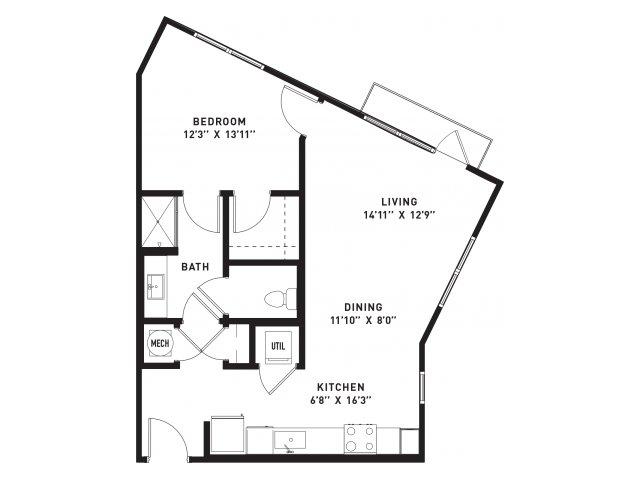 708 sq. ft. A6 floor plan