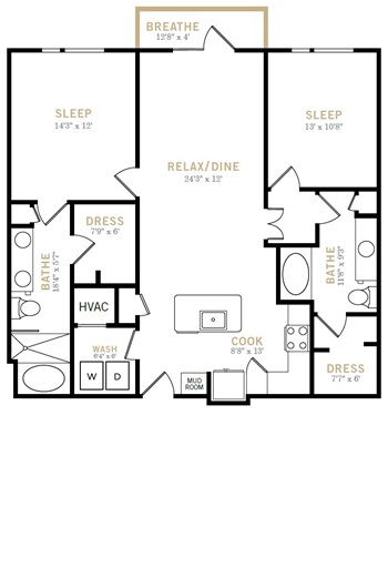 1,209 sq. ft. B8 floor plan