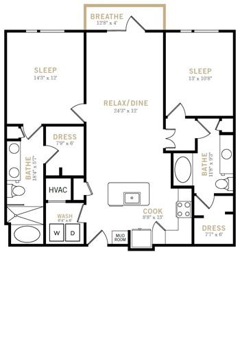 1,209 sq. ft. B8 floor plan
