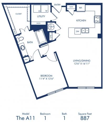887 sq. ft. A11 floor plan