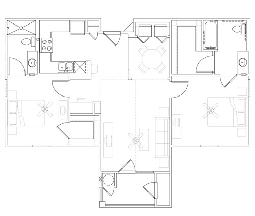 1,000 sq. ft. 30% floor plan