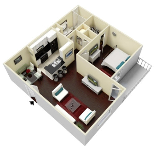 657 sq. ft. Willow floor plan