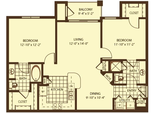 1,014 sq. ft. Hamilton floor plan