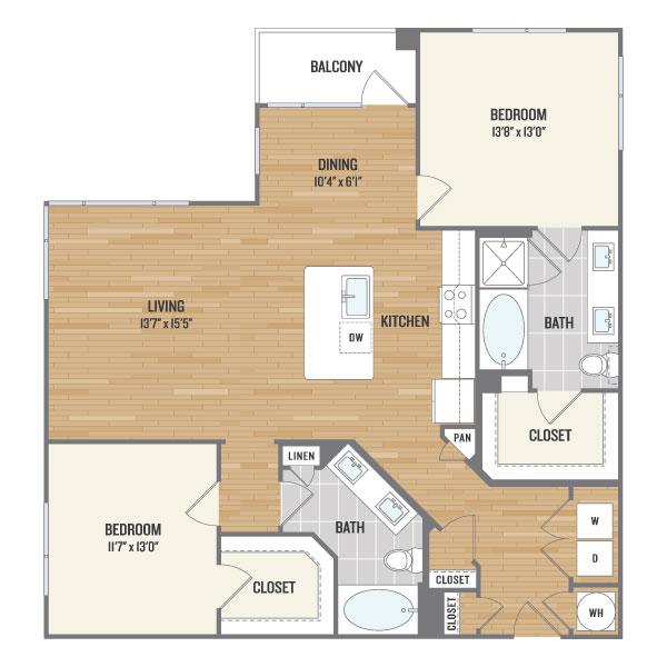 1,285 sq. ft. C3 floor plan