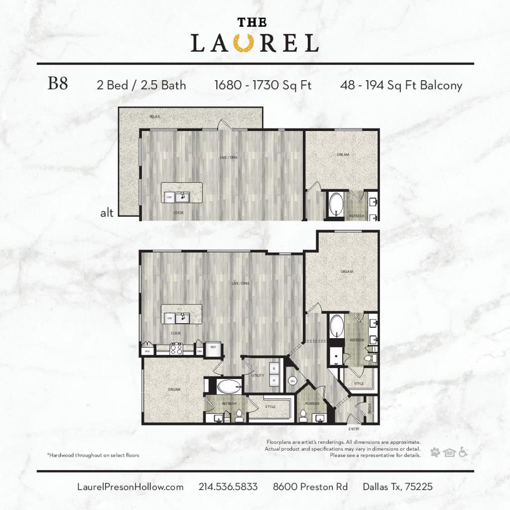 1,680 sq. ft. to 1,730 sq. ft. B8 floor plan