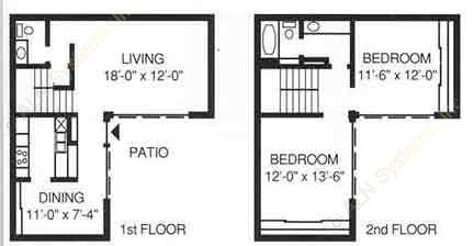 1,127 sq. ft. C-1 floor plan