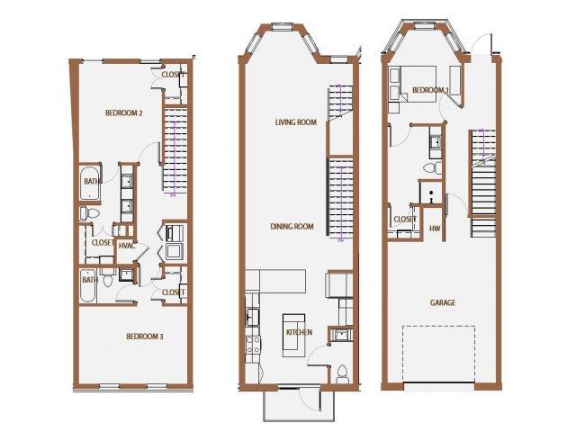 1,897 sq. ft. TH-2 floor plan