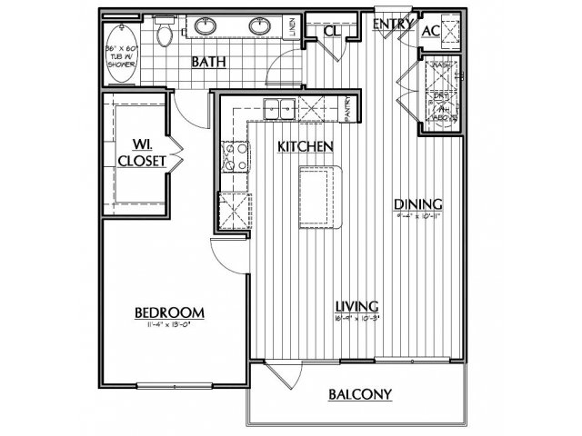 836 sq. ft. A3.1 floor plan