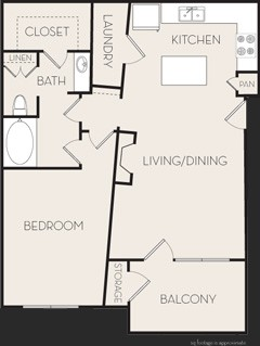 800 sq. ft. A2 floor plan