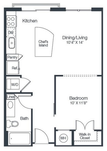 647 sq. ft. A1B floor plan