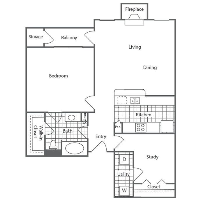 902 sq. ft. Chastellux floor plan