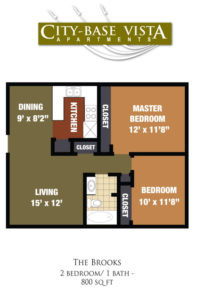 800 sq. ft. Brooks floor plan