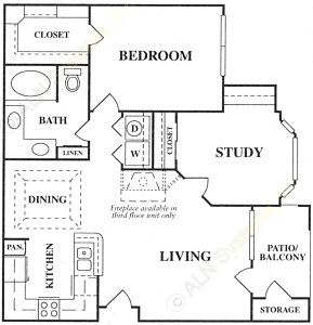 907 sq. ft. B floor plan
