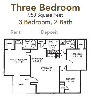 950 sq. ft. floor plan