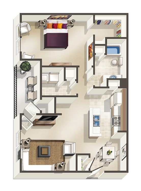 925 sq. ft. B floor plan