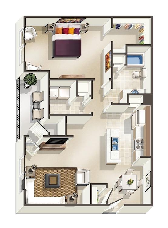 925 sq. ft. Willow floor plan