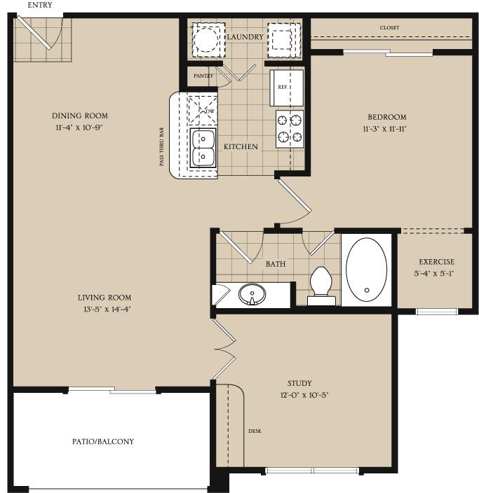 884 sq. ft. A3.1 floor plan