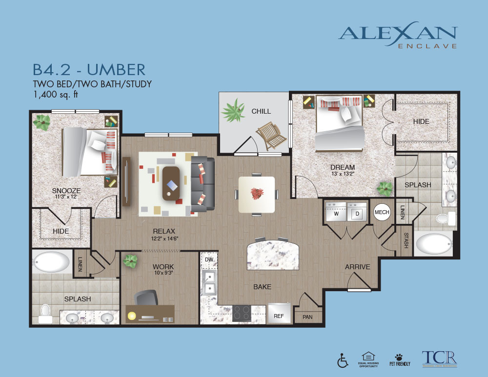 1,400 sq. ft. B4.2 floor plan