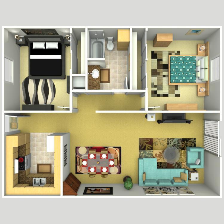 1,042 sq. ft. floor plan