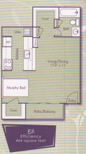 464 sq. ft. Monet floor plan
