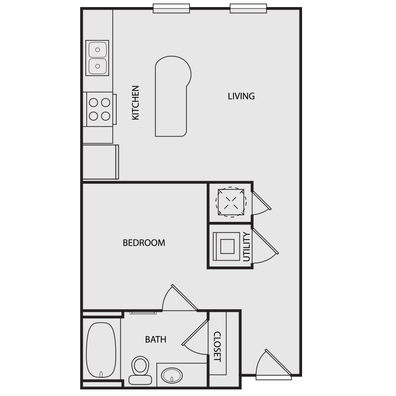 740 sq. ft. A1 floor plan