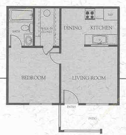 418 sq. ft. A floor plan