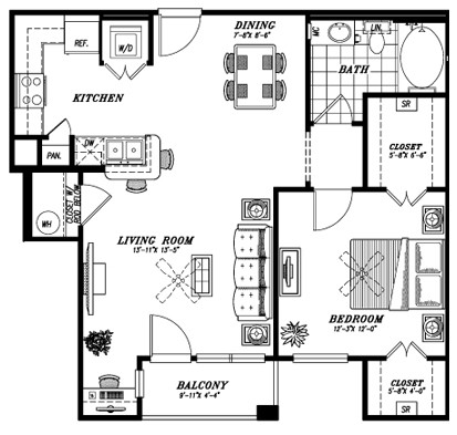 816 sq. ft. A4C floor plan