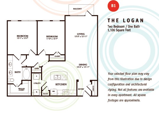 1,106 sq. ft. B1/LOGAN floor plan