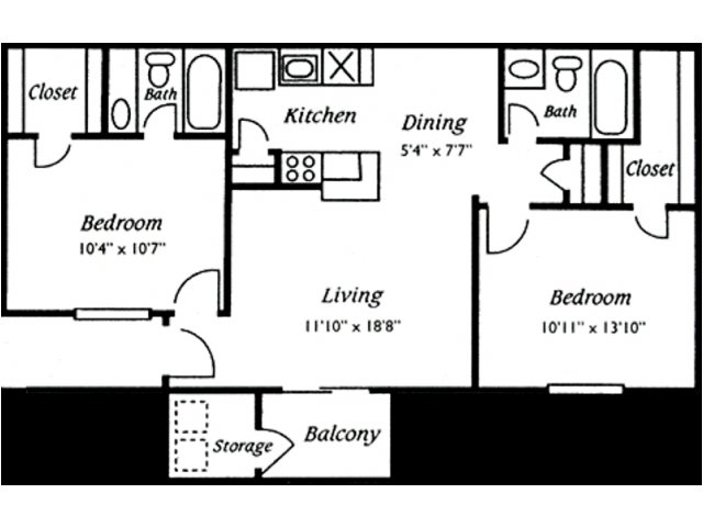 860 sq. ft. Belmont floor plan